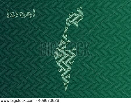 Israel Map With Green And Gold Oriental Geometric Simple Pattern And Abstract Waves