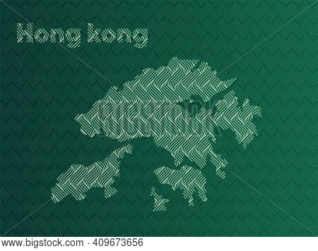 Hong Kong Map With Green And Gold Oriental Geometric Simple Pattern And Abstract Waves