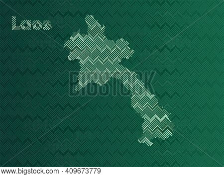 Laos Map With Green And Gold Oriental Geometric Simple Pattern And Abstract Waves