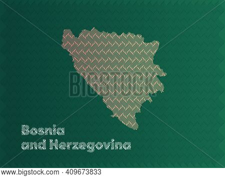 Bosnia And Herzegovina Map With Green And Gold Oriental Geometric Simple Pattern And Abstract Waves
