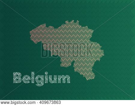 Belgium Map With Green And Gold Oriental Geometric Simple Pattern And Abstract Waves
