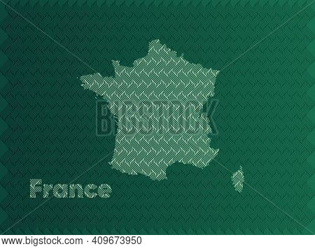 France Map With Green And Gold Oriental Geometric Simple Pattern And Abstract Waves