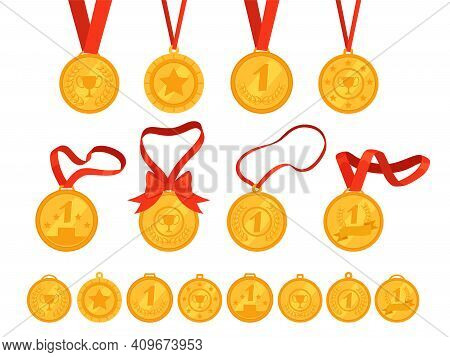 Set Of Different Gold Medals With Ribbons. Rewarding For Victory, First Place