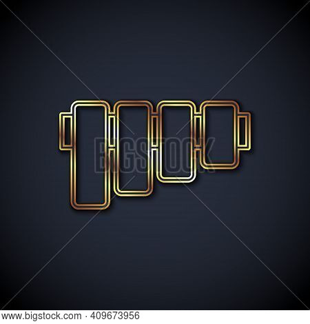 Gold Line Pan Flute Icon Isolated On Black Background. Traditional Peruvian Musical Instrument. Folk