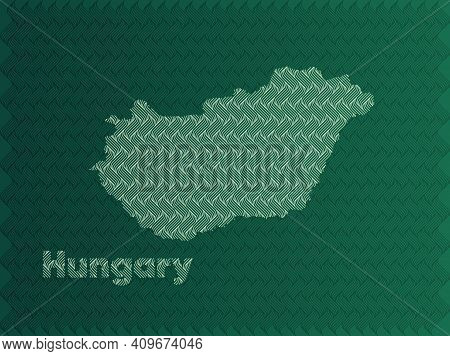 Hungary Map With Green And Gold Oriental Geometric Simple Pattern And Abstract Waves