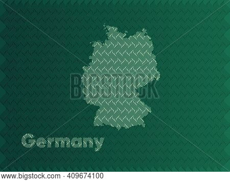 Germany Map With Green And Gold Oriental Geometric Simple Pattern And Abstract Waves