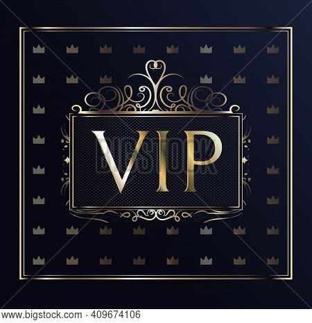 Vectors Vip Card. Gold Card With A Crown. Blue Gradient Geometric Ornament In Oriental Style. Backgr