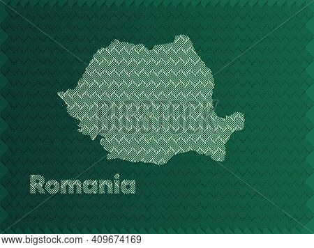 Romania Map With Green And Gold Oriental Geometric Simple Pattern And Abstract Waves