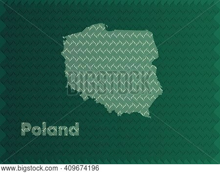 Poland Map With Green And Gold Oriental Geometric Simple Pattern And Abstract Waves