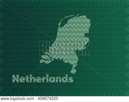 Netherlands Map With Green And Gold Oriental Geometric Simple Pattern And Abstract Waves