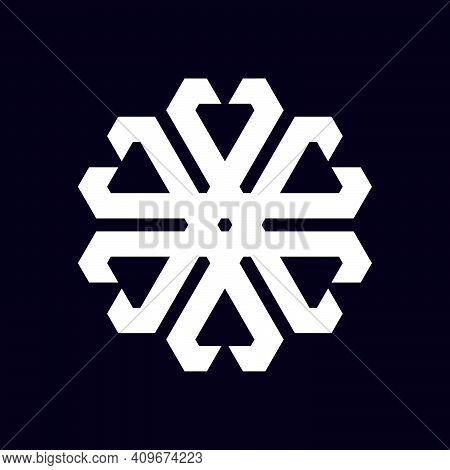 Ornament Geometric Abstract Illustration With Hexagram In Flat Design Monogram Symbol