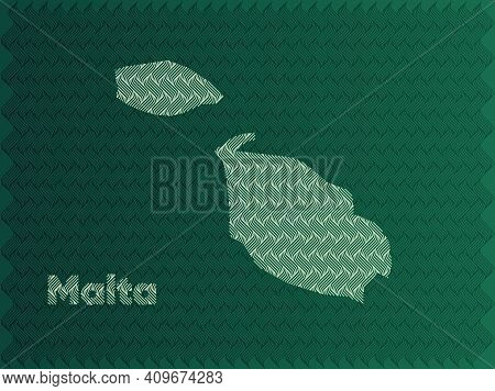 Malta Map With Green And Gold Oriental Geometric Simple Pattern And Abstract Waves