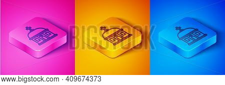 Isometric Line Santorini Building Icon Isolated On Pink And Orange, Blue Background. Traditional Gre
