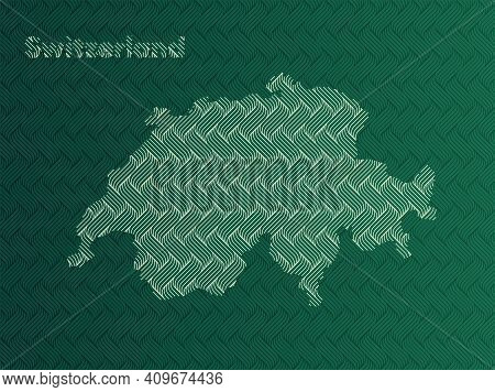 Switzerland Map With Green And Gold Oriental Geometric Simple Pattern And Abstract Waves