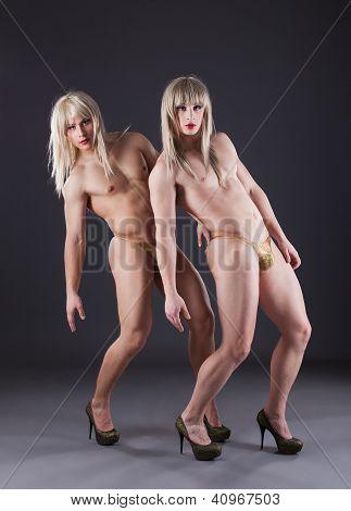 Two transvestites in heels