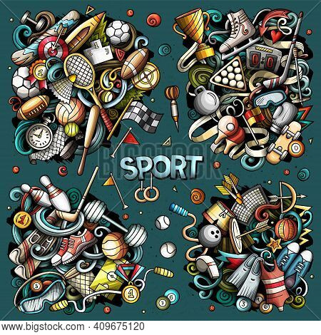 Sports Cartoon Vector Doodle Designs Set. Colorful Detailed Compositions With Lot Of Sporting Object