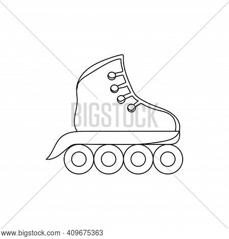 Continuous One Line Drawing  An Inline Skates Icon. Outline Inline Skate. Vector Icon For Web Design