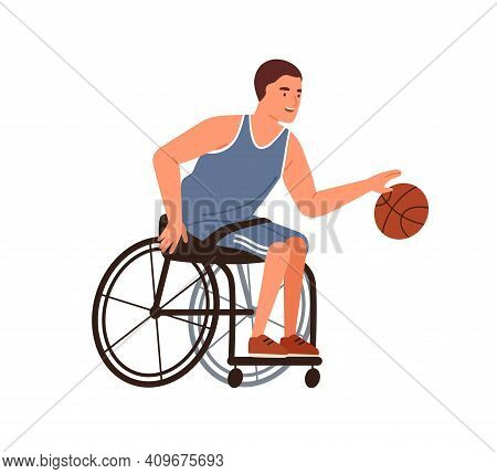 Athlete Playing Basketball Sitting In Wheelchair Vector Flat Illustration. Disabled Male With Paraly