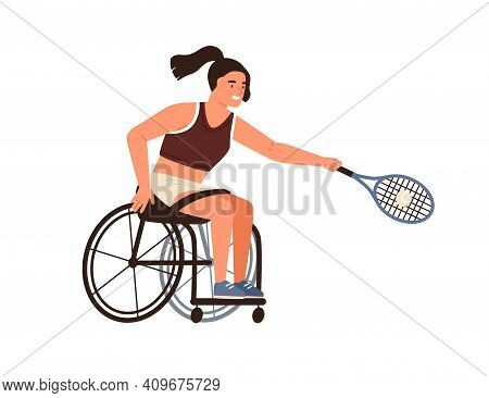 Female Athlete Playing Tennis Sitting In Wheelchair Vector Flat Illustration. Disabled Sportswoman H