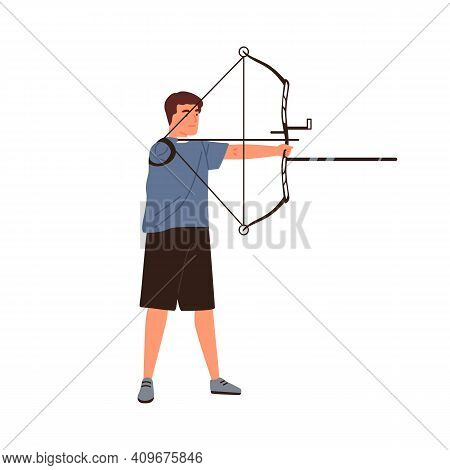 Disabled Athlete Archer Aiming, Hold Sports Bow Vector Flat Illustration. Sportsman With Amputated H