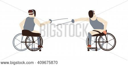 Male Disabled Athletes Fencing Sitting In Wheelchair Vector Flat Illustration. Athletic Men With Amp