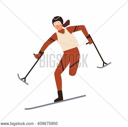 Disabled Woman Skier With Amputated Leg Vector Flat Illustration. Female Athlete Skiing Or Performin