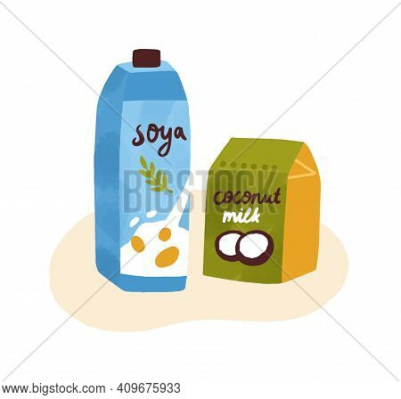Colorful Composition Of Soymilk And Coconut Milk In Paks. Organic Dairy Protein Products For Vegetar