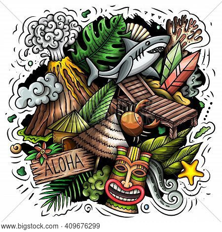 Hawaii Cartoon Vector Doodle Design. Colorful Detailed Composition With Lot Of Hawaiian Objects And