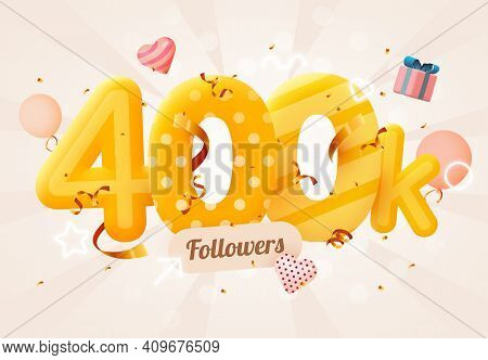 400k Or 400000 Followers Thank You Pink Heart, Golden Confetti And Neon Signs. Social Network Friend