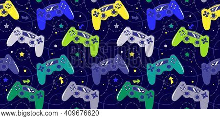 Seamless Bright Pattern With Joysticks. Video Game Controller Gaming Cool Print For Boys And Girls.