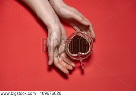 Valentines Day Hearts Background. Woman Holding Hot Cup Of Coffee, With Heart Shape Stock Photo. Bea