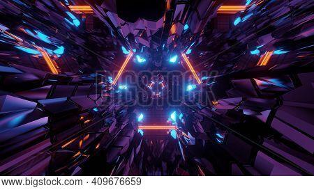 3d Illustration Of Chaotic Illuminated Lines In Dark Tunnel