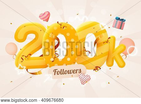 200k Or 200000 Followers Thank You Pink Heart, Golden Confetti And Neon Signs. Social Network Friend