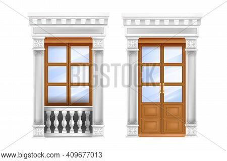 Classic Vector Door, Roman Traditional Double Entrance, Balustrade, Marble Portal Window Isolated On