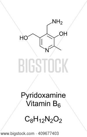 Pyridoxamine, Vitamin B6, Chemical Formula And Skeletal Structure. Also Known As Pyridoxylamine, It