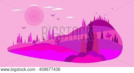 Coniferous Forest Silhouette Template. Pine Panorama Background Landscape Banner