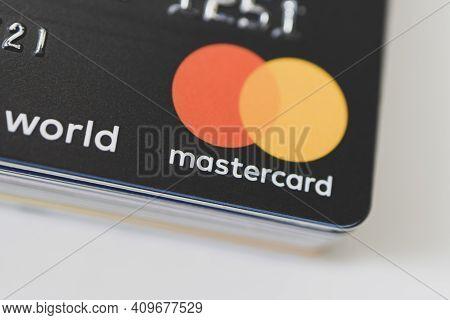 Mastercard Logo On Black Cards. 20 February 2021, Barnaul, Russia