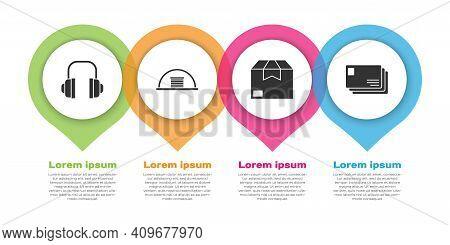 Set Headphones, Hangar, Carton Cardboard Box And Envelope. Business Infographic Template. Vector
