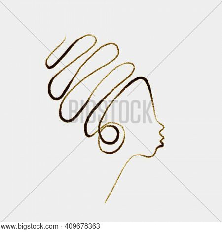 Abstract African woman face in profile with big earrings, Continuous one line pencil drawing, female fashion illustration single line, Afro girl minimalist design contemporary art