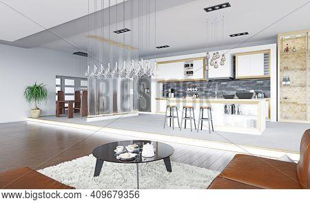 modern living interior. 3d rendering design concept