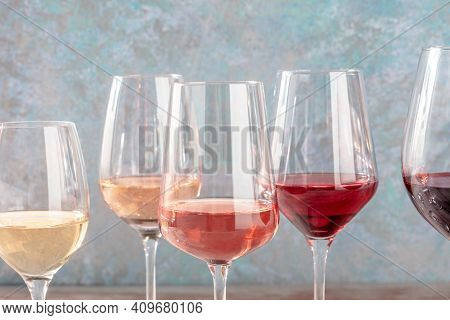 Wine Colors. Many Glasses Of Wine, Side View