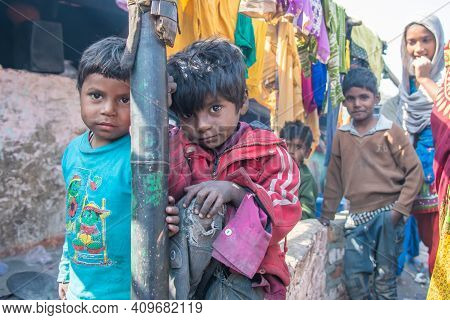 Rajasthan. India. 07-02-2018. Group Of Children In A Village In The Rajasthan Are Enjoying A Time To