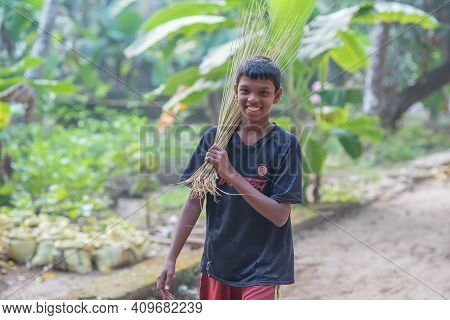Rajasthan. India. 07-02-2018. A Boy From A Village In The Rajasthan Is Happy After Finishing His Cle