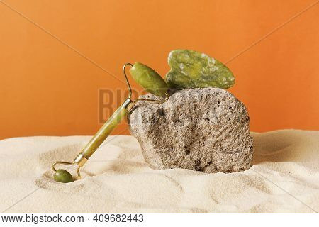 Gua Sha Massage Jade, Medical Traditional Tool Guasha Made From Jade On The Stone And Sand