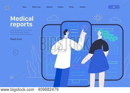 Medical Report Application -medical Insurance Web Page Template -modern Flat Vector Concept Digital