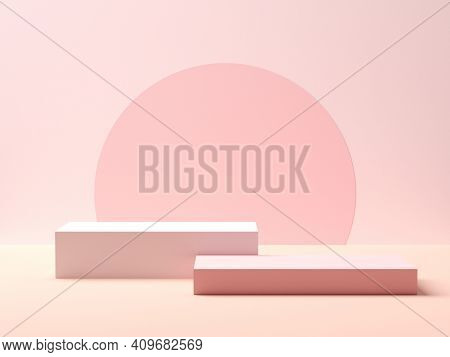 Abstract Geometry Shape. Pink Podium On Pink Color Background For Product. Minimal Concept. 3d Rende