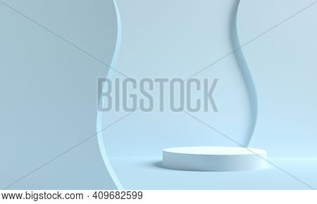Minimal Scene With Podium And Abstract Background. Geometric Shape. Blue Pastel Colors Scene. 3d Ren