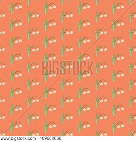Snowdrop Seamless Pattern. Spring Flower Vector Illostration. Floral Ornament.