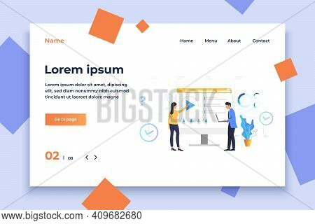Woman And Man Playing Video On Monitor Vector Illustration. Website, E-learning, Online Education. O