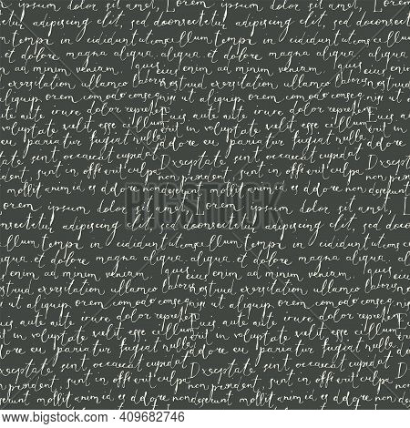 Vector Seamless Pattern With Handwritten Text Lorem Ipsum On A Black Background In Retro Style. Abst